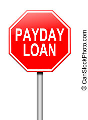 Payday loans concept - Illustration depicting a sign with a...