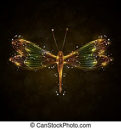 Shiny abstract dragonfly, technology energy vector...