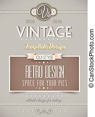 Vintage retro page or cover template - Vintage retro page...
