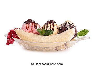 isolated banana split