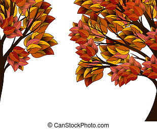 Autumn tree with yellow leaves - Autumn tree with red and...