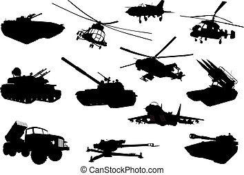 Military set - High detailed military silhouettes set Vector...