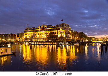 Morning Amstel - The Amstel hotel in the early morning in...