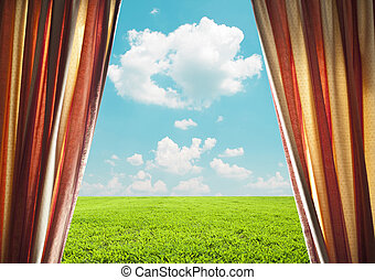 Open window curtains with green field