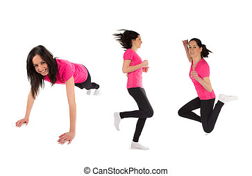 Collection of fitness woman