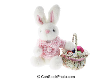 Easter Bunny with Basket on White Background