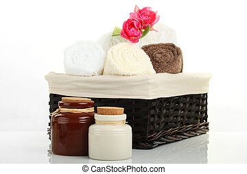 Wellness Concept - SPA - soap towels and flowers