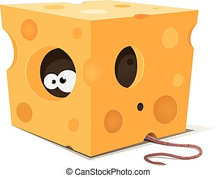Mouse Eyes Inside Piece Of Cheese - Illustration of funny...