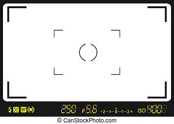 camera viewfinder with exposure and camera settings