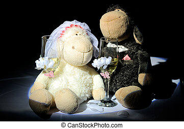 Wedding toys with champagne