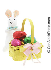 Easter Bunny with a Basket of Chocolate Eggs - Easter Bunny...