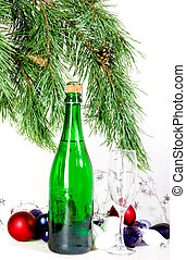 Christmas composition with champagne