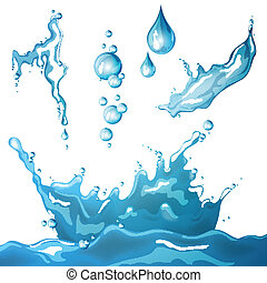 Vector Water Elements - Vector Illustration of Different...