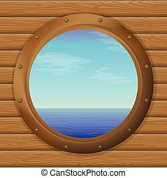 Sea in a ship window - Sea and blue sky in a bronze ship...