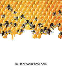 Vectorl Background with Honeycombs - Vector Illustration of...