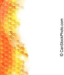 vetorial, fundo, favos mel, abelhas