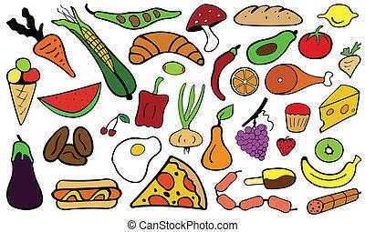 food - set of color food doodles