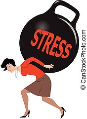 Woman under stress - Depressed woman carrying a heavy load...