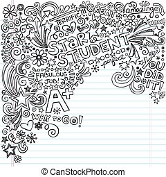 Great Student Notebook Doodles - Hand-Drawn Star Student...