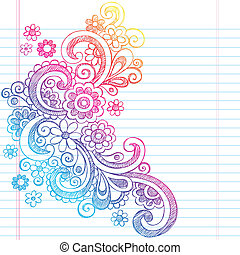 Spring Flower Sketch Doodle Vector - Flower Power Back to...