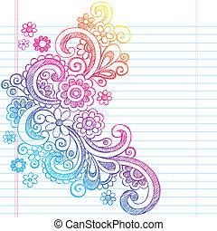 Spring Flower Sketch Doodle Vector - Flower Power Back to...