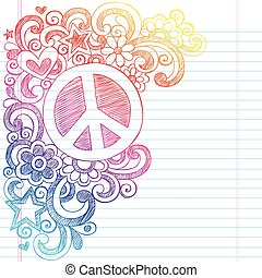 Peace Sign Sketchy Doodles Vector - Peace Sign and Love...