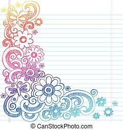 Flowers Sketch Doodle Border Vector - Springtime Flower...