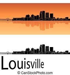 Louisville skyline in orange background in editable vector...