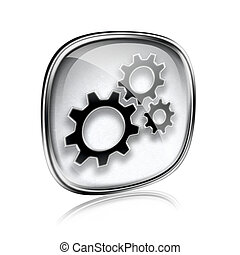 Tools icon grey glass, isolated on white background