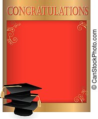 Graduation invitation card with mortars - Graduation...