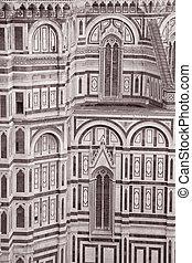 Facade of Duomo Cathedral Church, Florence - Facade of Duomo...