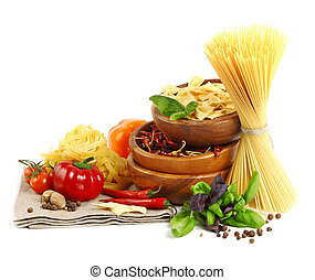 Italian Pasta with vegetables in wooden plate isolated on...