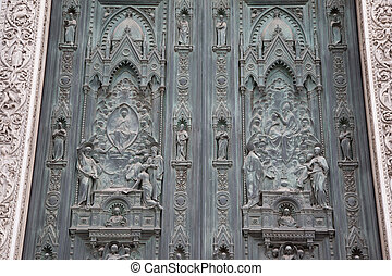 Main Door of the Duomo Cathedral Church, Florence - Detail...