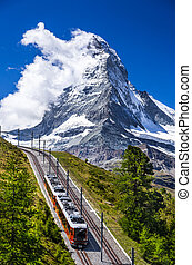 Gornergrat train and Matterhorn. Switzerland - The...