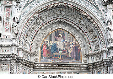 Duomo Cathedral Church, Florence, Italy - Detail on the Main...