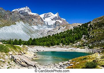 Grunsee Lake, Zermatt, Switzerland - Grunsee, or Green Lake,...
