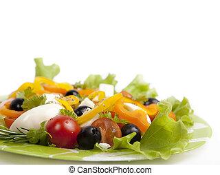 sano, vegetariano, aislado, ensalada