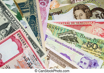 International currency with banknotes from different world...