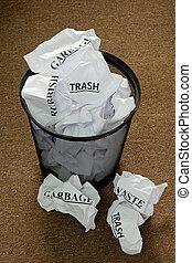 Waste Paper Bin - Waste paper bin with trash
