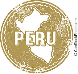 Peru South America Stamp - A distressed vintage style stamp...