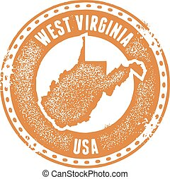 West Virginia USA State Stamp - A distressed vintage style...