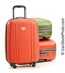 Three plastic suitcases - Luggage consisting of three...