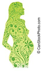 pregnant girl - floral silhouette of a pregnant woman