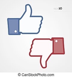 Social Thumbs Up and Down - Social media thumps up and down...