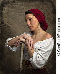 Peasant Girl Taking a Break - Image is a recreation of Old...