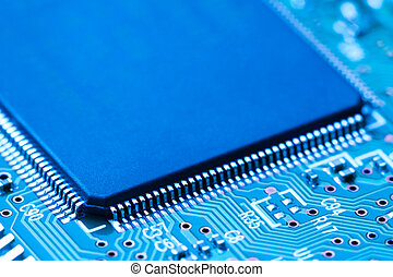 close-up of electronic circuit board with processor -...