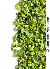 sliced green chives on white background