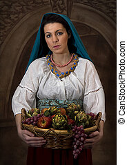 Peasant Girl with Basket of Fruit - Image is a photograph...