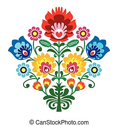 Folk embroidery with flowers - Decorative traditional vector...