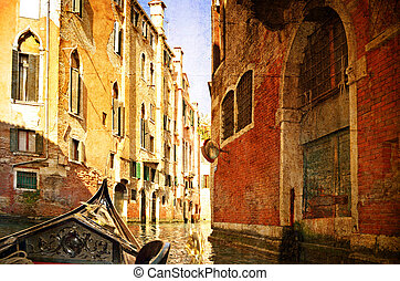 Beautiful water street - Venice, Italy. Photo in old color...